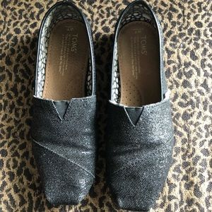 Toms Classics Black Glitters Flats.
